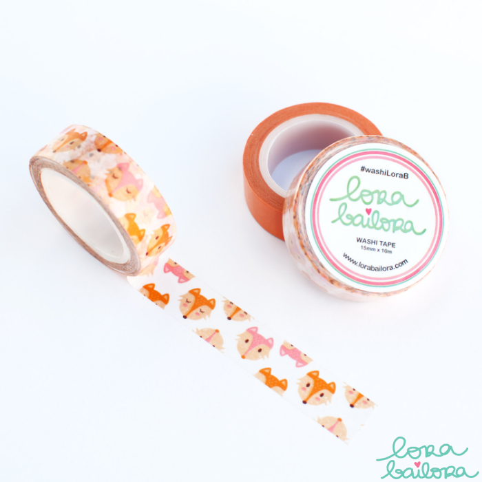 Lora Bailora Foxes Washi Tape - Orchids and Hummingbirds Designs, LLC