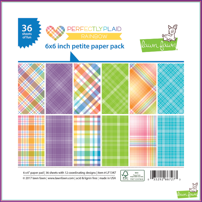 Lawn Fawn Perfectly Plaid Rainbow Petite Paper Pack - Scrapbooking Supplies - Lawn Fawn - Orchids and Hummingbirds Designs, LLC