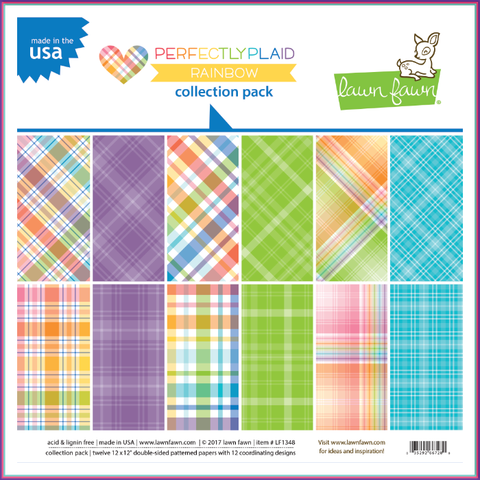 Lawn Fawn Perfectly Plaid Rainbow Collection Pack - Scrapbooking Supplies - Lawn Fawn - Orchids and Hummingbirds Designs, LLC