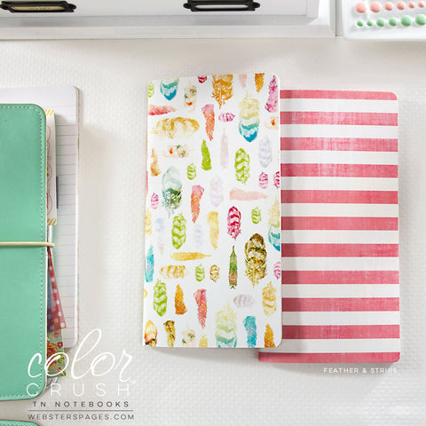 Webster's Pages Color Crush Feather & Stripe Travelers Notebook Inserts - Orchids and Hummingbirds Designs, LLC
