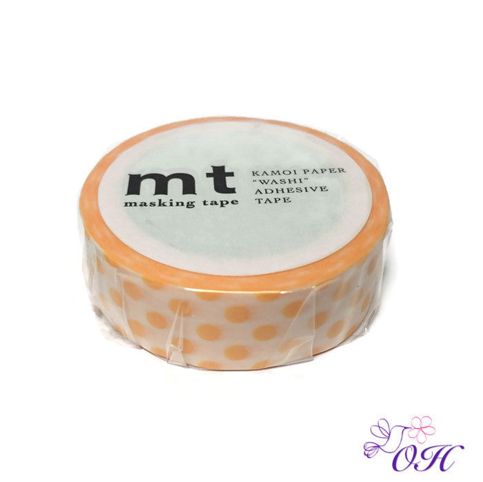 mt Dot Apricot Washi Tape - Washi Tape - mt - Orchids and Hummingbirds Designs, LLC
