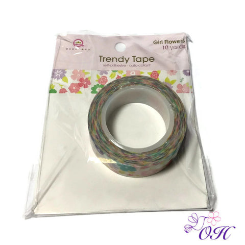 Queen & Company Trendy Tape - Girl Flowers - Washi Tape - Queen & Co - Orchids and Hummingbirds Designs, LLC