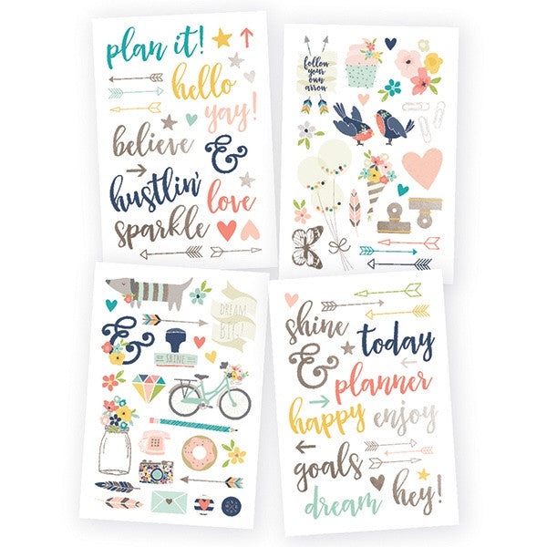 Simple Stories Carpe Diem Posh Designer Stickers - Stickers - Simple Stories - Orchids and Hummingbirds Designs, LLC