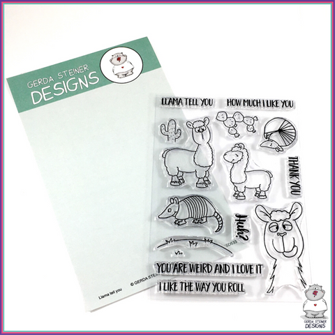 Gerda Steiner Designs Llama Tell You 4x6 Clear Stamp Set - Stamps - Gerda Steiner Designs, LLC - Orchids and Hummingbirds Designs, LLC