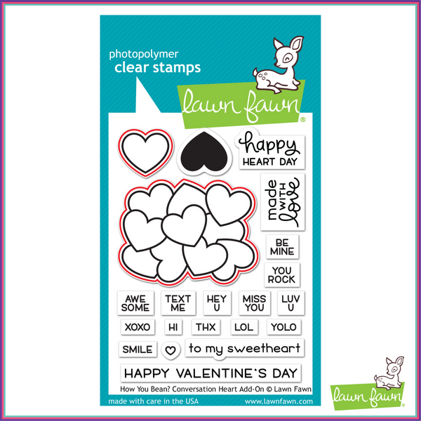Lawn Fawn How You Bean? Conversation Heart Add-on Lawn Cuts Dies - Dies - Lawn Fawn - Orchids and Hummingbirds Designs, LLC