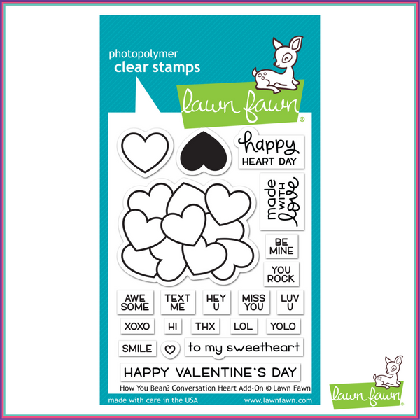 Lawn Fawn How You Bean? Conversation Heart Add-On Stamp Set - Stamps - Lawn Fawn - Orchids and Hummingbirds Designs, LLC