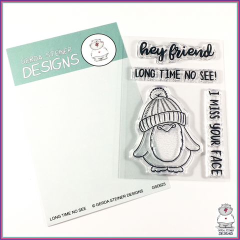 Gerda Steiner Designs Long Time No See Penguin 3x4 Clear Stamp Set - Stamps - Gerda Steiner Designs, LLC - Orchids and Hummingbirds Designs, LLC