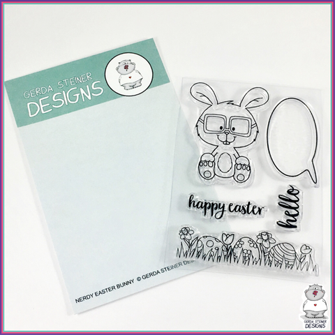 Gerda Steiner Designs Nerdy Easter Bunny 3x4 Clear Stamp Set - Stamps - Gerda Steiner Designs, LLC - Orchids and Hummingbirds Designs, LLC