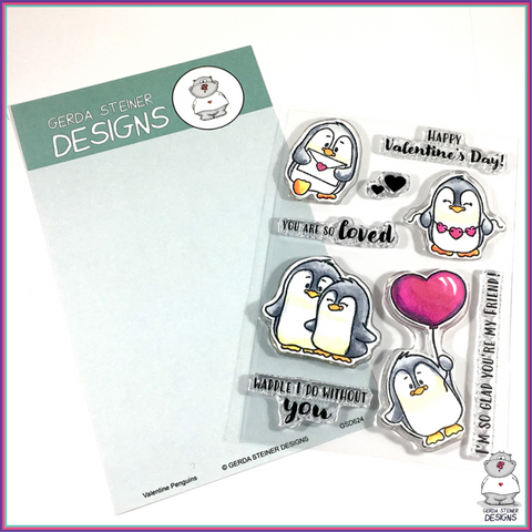 Gerda Steiner Designs Valentine Penguins 4x6 Clear Stamp Set - Stamps - Gerda Steiner Designs, LLC - Orchids and Hummingbirds Designs, LLC