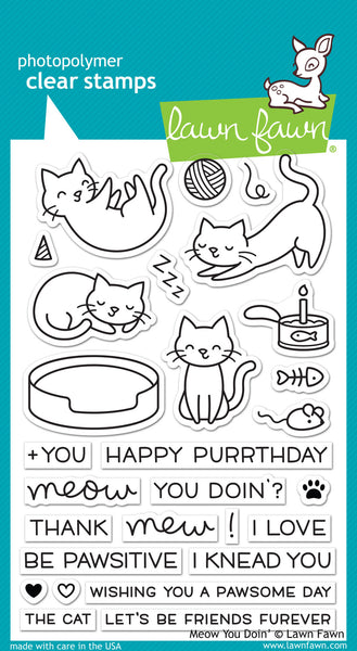 Lawn Fawn Meow You Doin' Stamp Set - Stamps - Lawn Fawn - Orchids and Hummingbirds Designs, LLC
