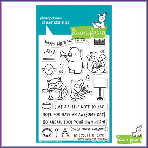 Lawn Fawn Critter Concert Stamp Set - Stamps - Lawn Fawn - Orchids and Hummingbirds Designs, LLC
