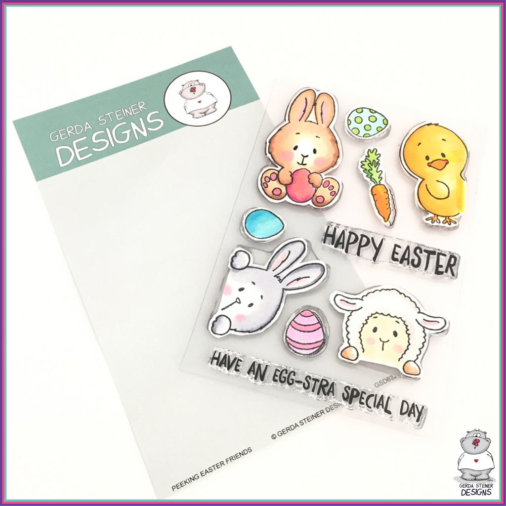 Gerda Steiner Designs Peeking Easter Friends 4x6 Clear Stamp Set - Stamps - Gerda Steiner Designs, LLC - Orchids and Hummingbirds Designs, LLC