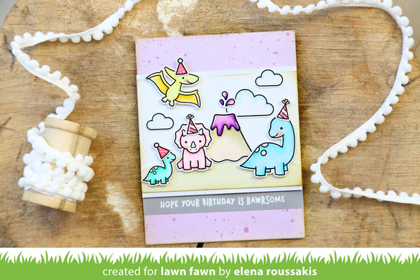 Lawn Fawn RAWRSOME Stamp Set - Stamps - Lawn Fawn - Orchids and Hummingbirds Designs, LLC