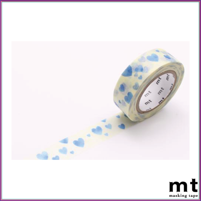 mt Heart Stamp Blue Washi Tape - Washi Tape - mt - Orchids and Hummingbirds Designs, LLC