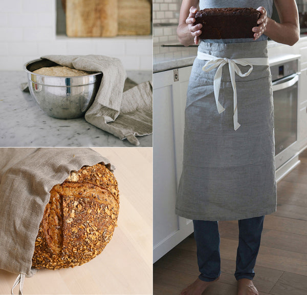 Essential Kitchen Linens - Apron, bread bag and tea towel - a kitchen set for home chefs and bakers
