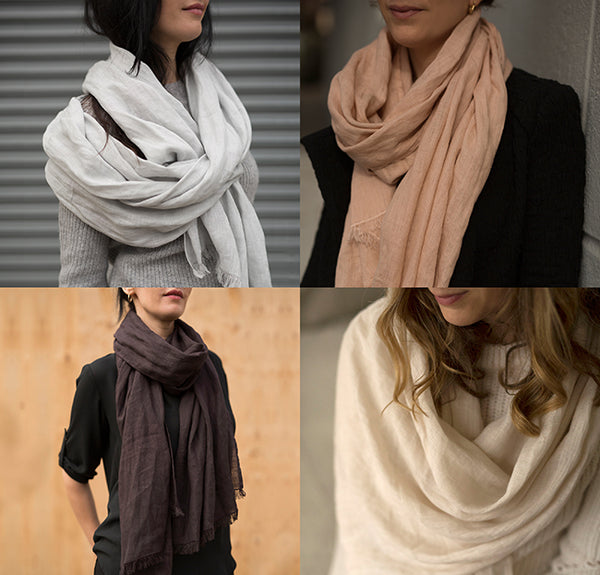 fringed linen scarves - black, cream, peach, ice blue