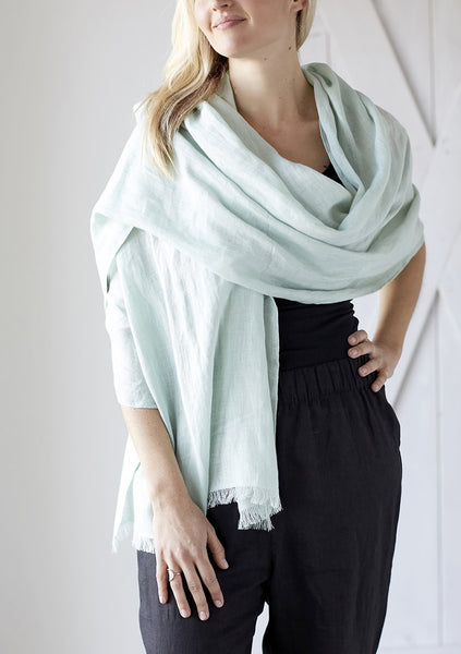 Rough Linen Mint Scarf