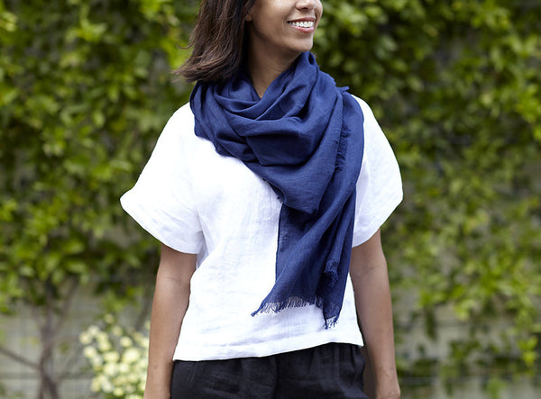 Rough Linen Navy Scarf