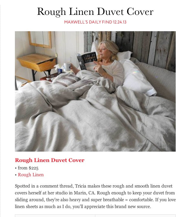 Article Snippet of Rough Linen in Apartment Therapy