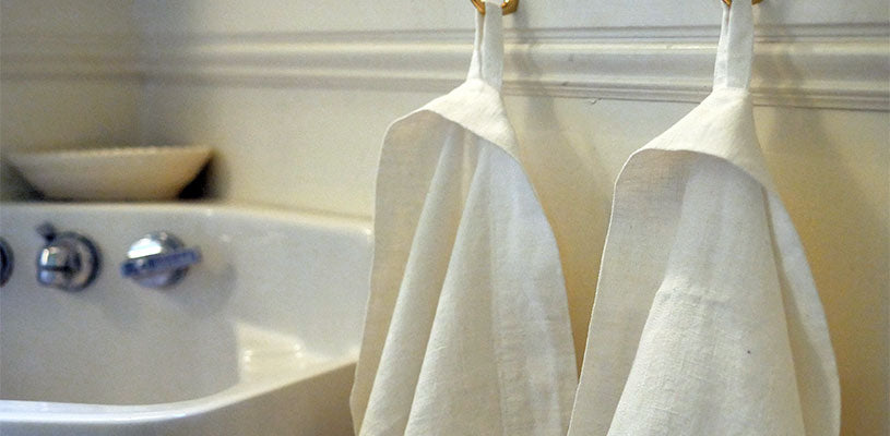 Rough Linen Orkney white bath towel and hand towel