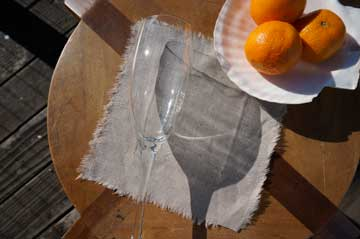 Rough Linen Smooth natural cocktail napkin with raw edge