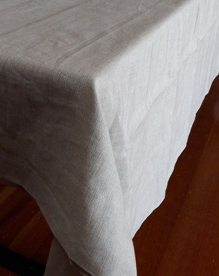 A Rough Linen Smooth natural linen tablecloth has style and grace.