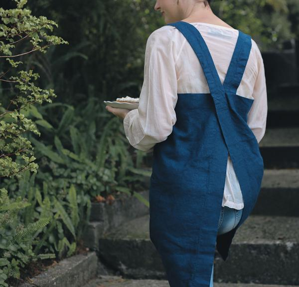 indigo blue pinafore woman's linen apron