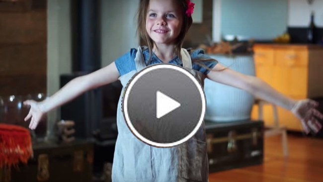 See Daiva's daughter, Gabriela, putting on her pinny. I tell the story how I found the pinafore's unique design. Watch the video.