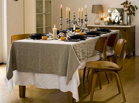 Rough Linen Orkney natural linen tablecloth