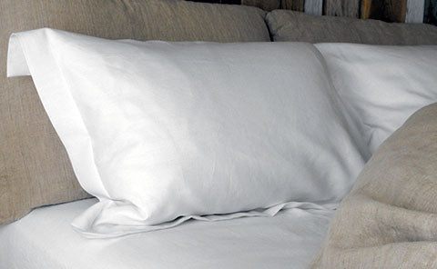 Rough Linen Oxford Pillow Slip in Smooth white