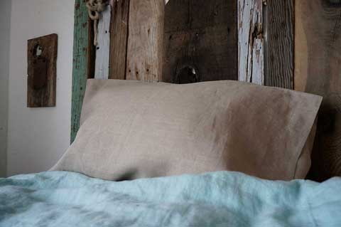Rough Linen Smooth natural Simple pillow slip with St Barts blue duvet cover