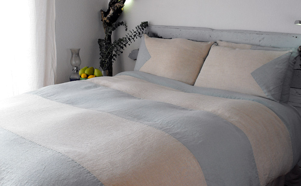 Rough Linen St Barts blue and mix striped duvet cover and custom shams.