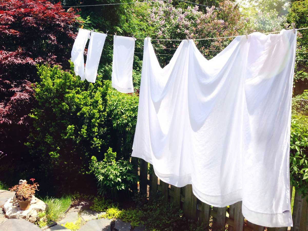 Rough Linen Smooth white sheet and pillow slips line-drying in the sun.