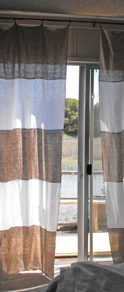 Rough Linen St Barts mix and white striped curtains.