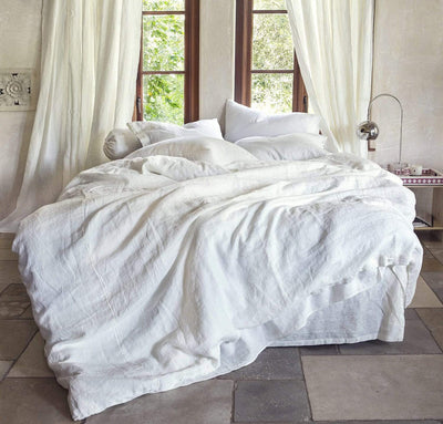 Beautiful Slightly Off White Rough Linen Bed Set | Bed In A Bag