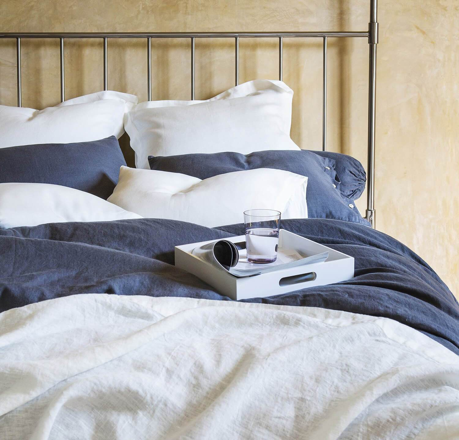 Dark Grey Linen Bed Set   Bed In A Bag   White And