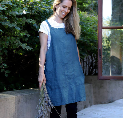 The Metro Linen Pinafore-Apron