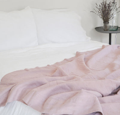 white linen sheets and dusty rose pink linen summer bedding - summer cover lightweight linen blanket