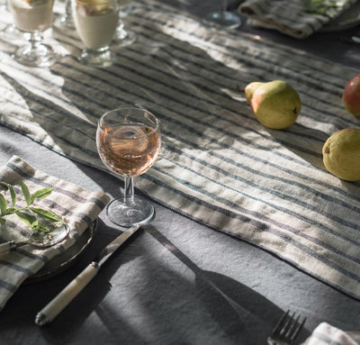 French Stripe Linen Table Runner