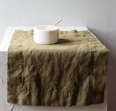 100% linen placemat mid-weight linen limited edition moss green color