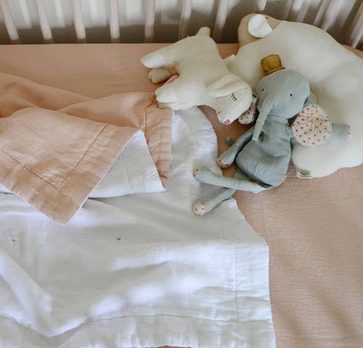 light pink blush peach linen baby blanket two-toned all-natural quilt crib bedding set