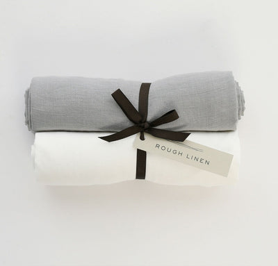 Pair of 100% linen swaddle blankets baby wrap multi-use cover, all-natural flax white light grey