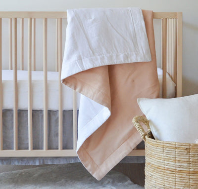 Light pink peach blush linen baby blanket two-toned all-natural quilt crib bedding