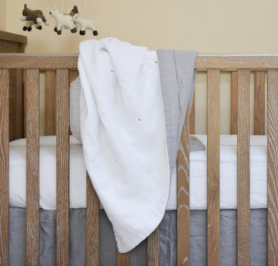 light grey white linen baby blanket two-toned all-natural quilt crib bedding