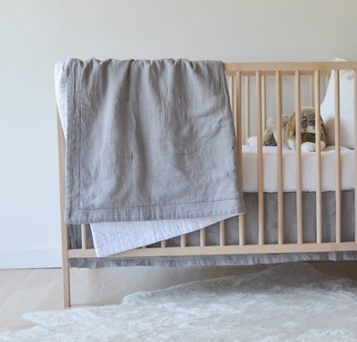 Light grey linen baby blanket two-toned all-natural quilt crib bedding