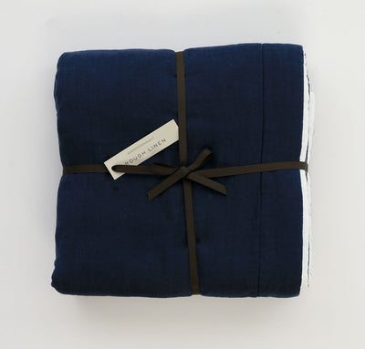 Navy Blue White linen baby blanket two-toned all-natural quilt crib bedding