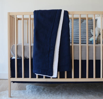 Navy blue linen baby blanket two-toned all-natural quilt crib bedding set