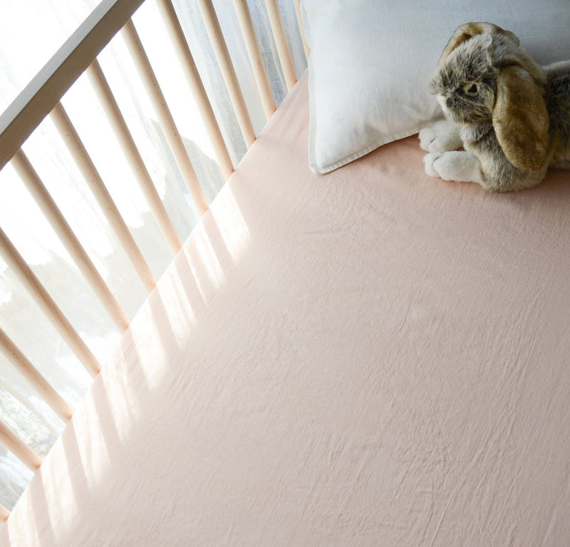 White 100% linen fitted crib sheet baby bedding pure linen all-natural