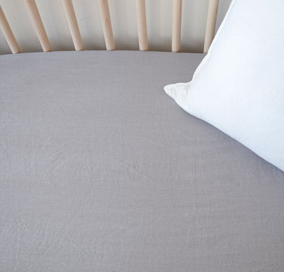 light grey 100% linen fitted crib sheet baby bedding pure linen all-natural
