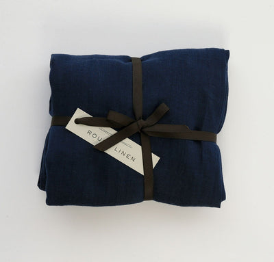 navy blue color 100% linen fitted crib sheet baby bedding pure linen all-natural